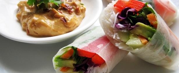 Fresh Spring Rolls (Rice Paper Rolls) w/ Peanut Sauce