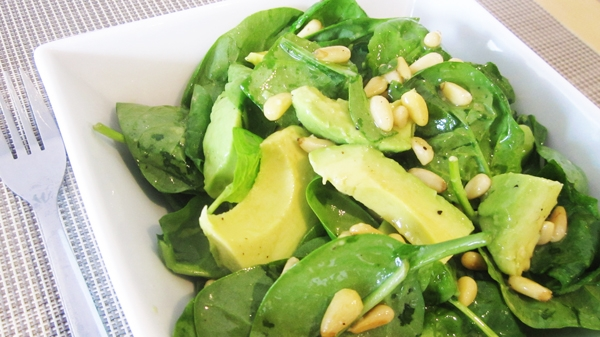 Vegan Avocado & Spinach Salad with Pine Nuts