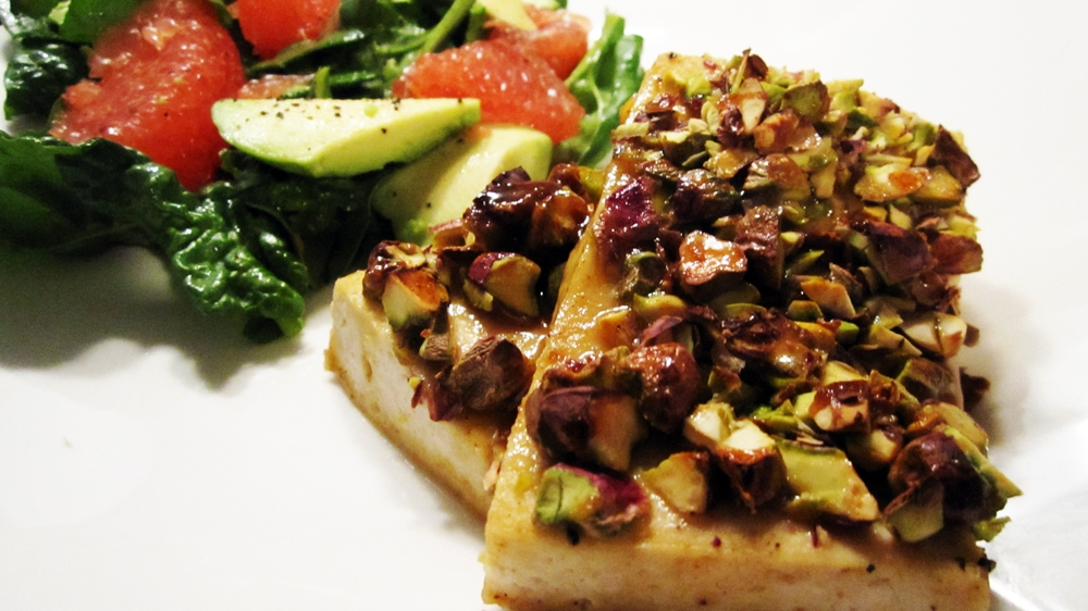Pistachio-Crusted Maple Dijon Tofu - Vegan and Gluten-Free