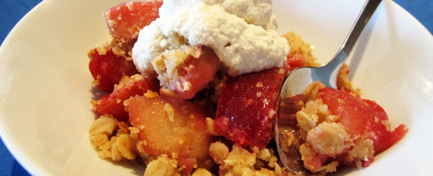 Vegan Apple & Plum Crumble/Crisp - Uses coconut oil instead of butter or margarine