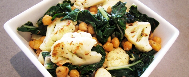 Fried Cauliflower, Chickpea and Swiss Chard - Vegan and Gluten-Free