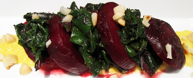 Warm Beetroot and Greens with Yellow Capsicum Purée