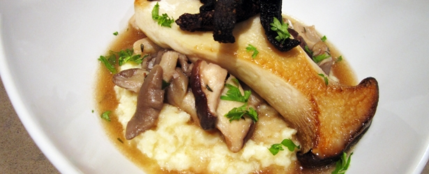 Cauliflower Puree with Mushroom Compote, Seared King Mushroom and Shitake Bacon - Vegan & Gluten-Free