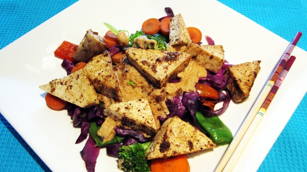 Tofu with Thai Coconut Peanut Sauce - Vegan and Gluten-Free