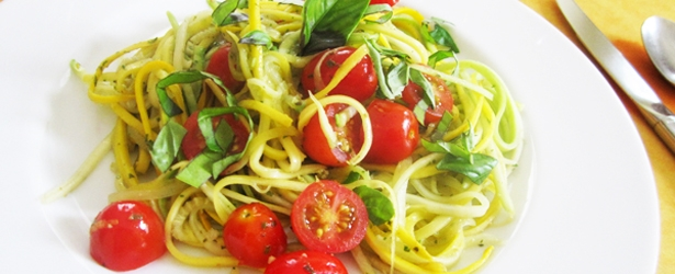 Fresh Tomato, Basil and Lemon Zucchini Pasta - Vegan, Gluten-Free, Low-Carb