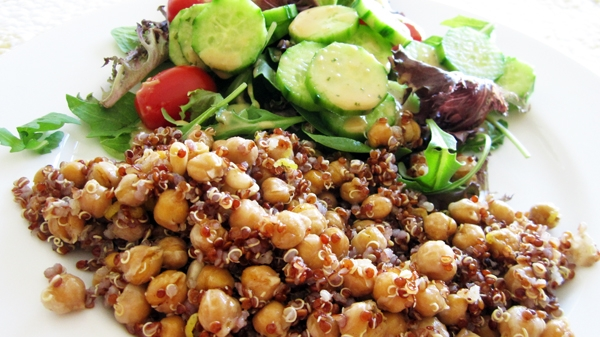 Quinoa with Roasted Spiced Chickpeas + Pine Nuts