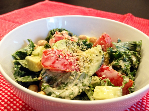 Kale Salad with Creamy Lemon Tahini Dressing