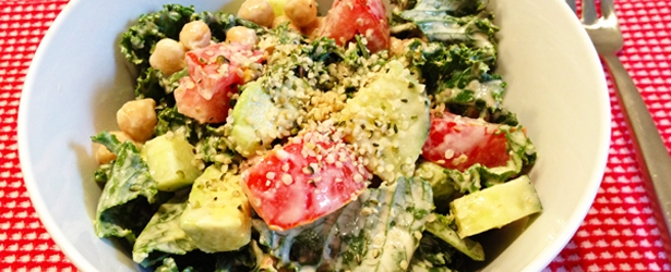 Raw Kale Salad With Creamy Tahini Dressing Recipe — Dishmaps