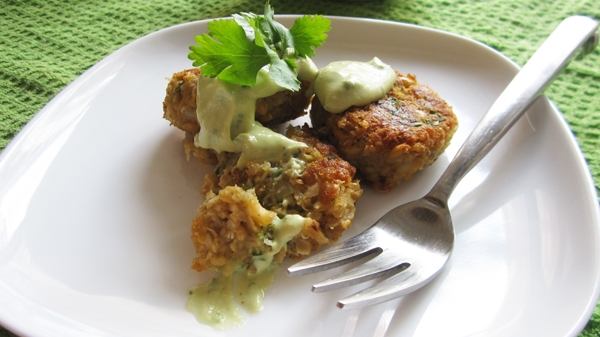 Quinoa Falafel with Avocado Tahini Dressing (Vegan, Gluten-Free)