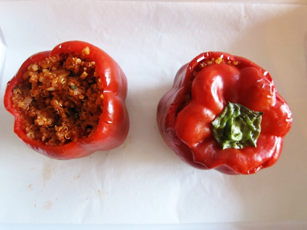Make-Ahead Quinoa-Stuffed Peppers with Almonds and Mint - Vegan and Gluten-Free