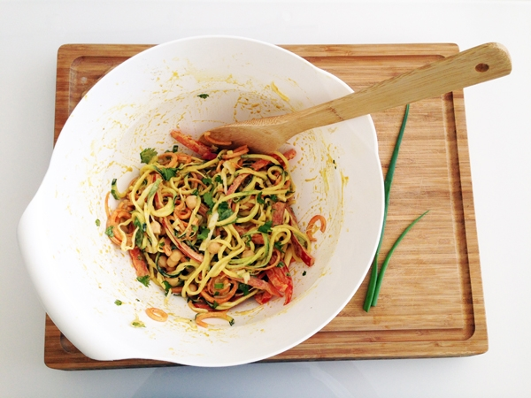 "Curried Veggie ""Noodle"" Salad with Chickpeas - Vegan and Gluten-Free"