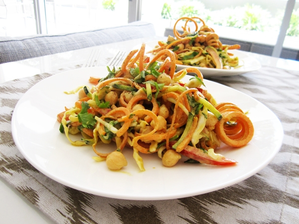 "Curried Veggie ""Noodle"" Salad with Chickpeas – Vegan and Gluten-Free"