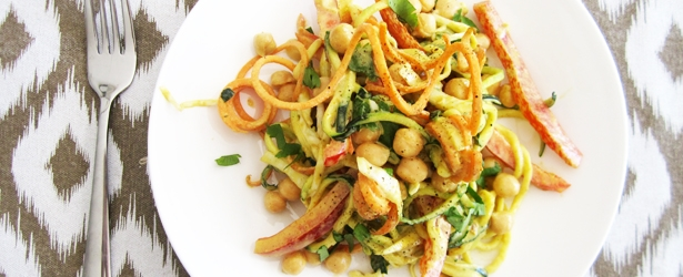 "Curried Chickpea & Veggie ""Noodle"" Salad"