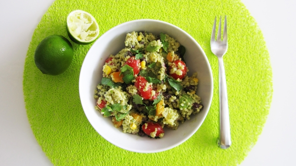 Southwestern Quinoa Salad with Creamy Avocado Dressing - Vegan and Gluten-Free